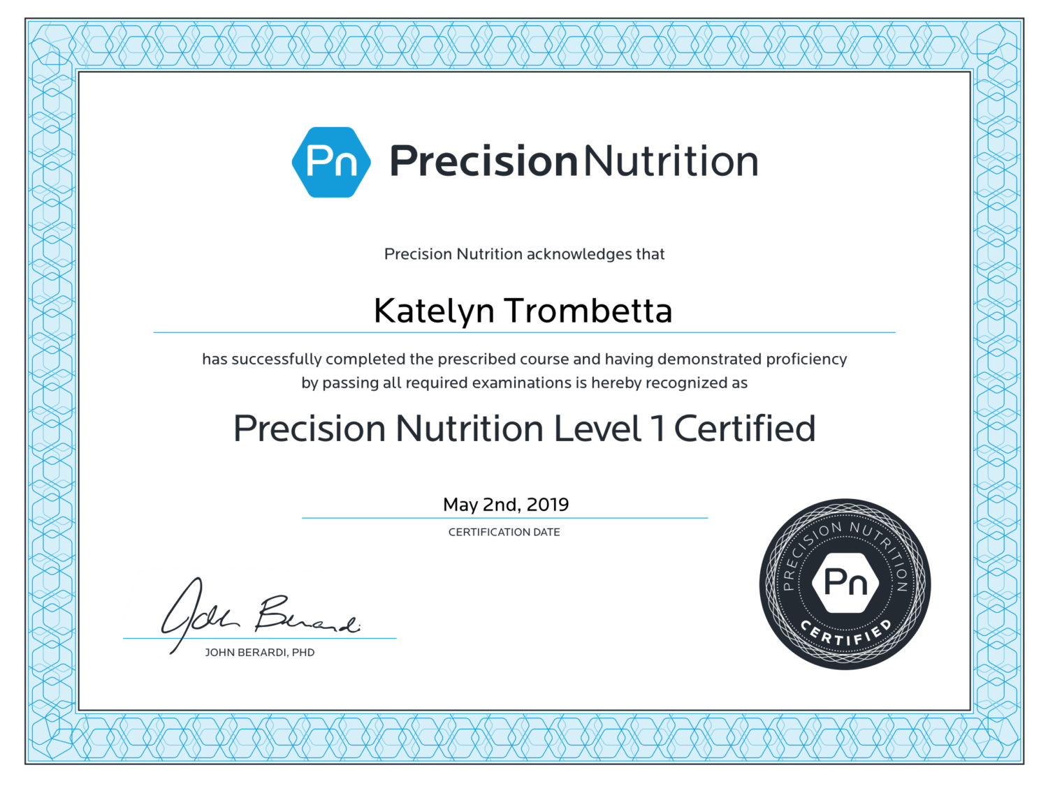 Precision Nutrition Certification Profectus Performance Edwardsville IL